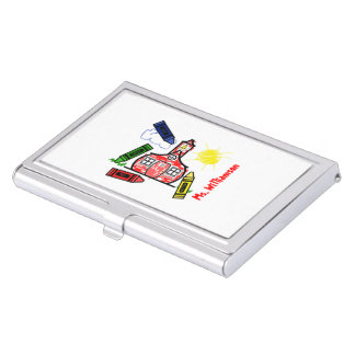 Schoolhouse & Crayons Teacher Business Card Holder