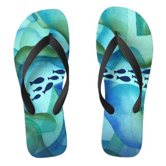 Schooling Fish Ocean Watercolor Flip Flops Thongs