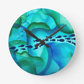 Schooling Fish Watercolor Wall Clock