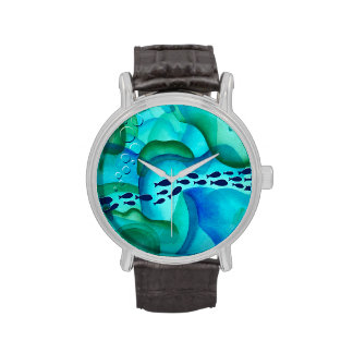 Schooling Fish Watercolor Watch