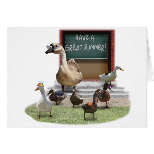 School's Out, Little Ducklings with Teacher Goose Card