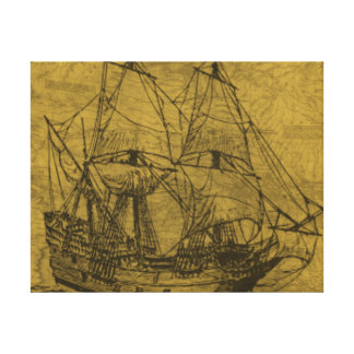 Schooner And Vintage Map Stretched Canvas Print