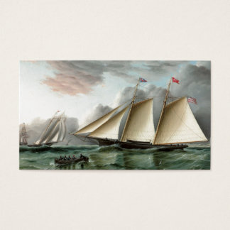 Schooner Mohawk off Sandy Hook Lighthouse Business Card