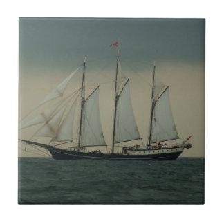 Schooner off the Dutch coast Ceramic Tile