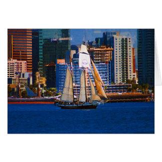 Schooner, San Diego Harbor Greeting Card