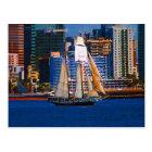 Schooner, San Diego Harbour, CA Postcard
