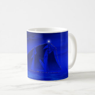 Schooner with Christmas Lights Coffee Mug
