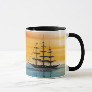 Schooners at Sunset Design Coffee Mug
