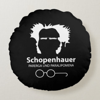 Schopenhauer and Spectacles O'clock Round Cushion