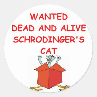 schrodinger's cat classic round sticker