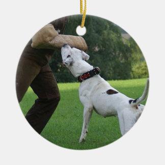 Schutzhund American Bulldog Round Ceramic Decoration