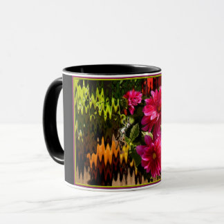 Schwarzgrundige cup with red dahlias