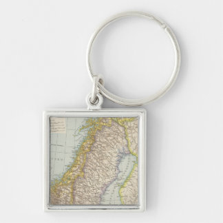 Schweden, Norwegen - Sweden and Norway Map Silver-Colored Square Key Ring
