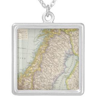 Schweden, Norwegen - Sweden and Norway Map Silver Plated Necklace