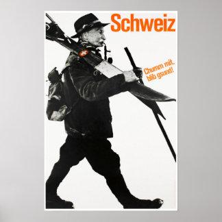 Schweiz, Travel Ski Poster