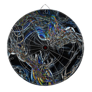 Sci-Fi Abstract Dartboard With Darts
