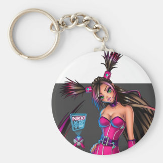Sci Fi Anime Girl Nikki Basic Round Button Key Ring