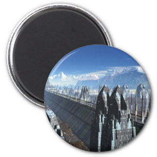Sci-fi City 6 Cm Round Magnet