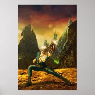 Sci-Fi Female Fighter on Strange Planet Poster