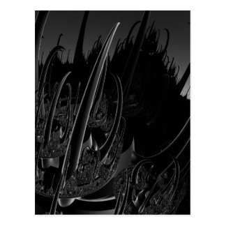 Sci Fi Fractal in black and gray Postcard