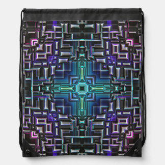 Sci Fi Metallic Shell Drawstring Bag
