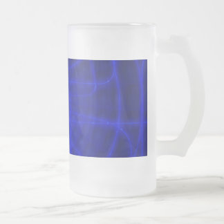 Sci-Fi Neon Circuits Frosted Glass Mug