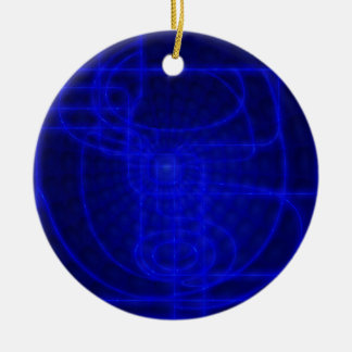 Sci-Fi Neon Circuits Round Ceramic Decoration