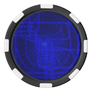 Sci-Fi Neon Circuits Set Of Poker Chips