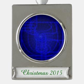 Sci-Fi Neon Circuits Silver Plated Banner Ornament