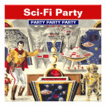 Sci-fi Party Theme Invitations Robot Space Travel