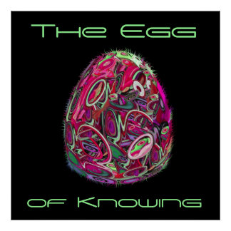 Sci Fi Surreal The Egg of Knowing Magenta Lime Poster