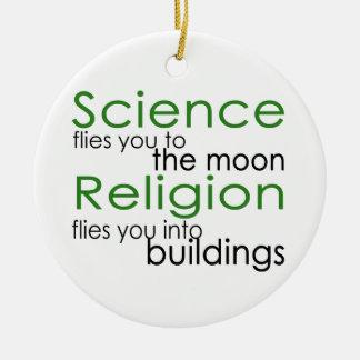Science and religion ceramic ornament
