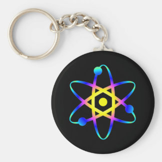 science atom basic round button key ring