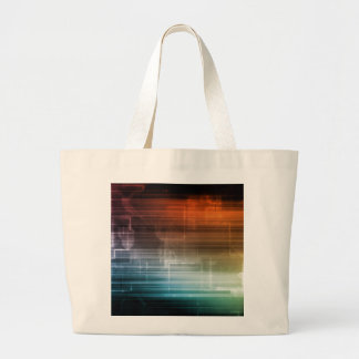 Science Background With Glowing Techno Lines Art Large Tote Bag