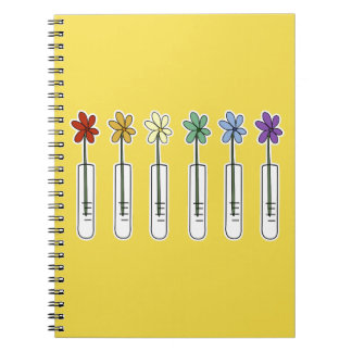 Science Beaker Notebook with Rainbow Flower Yellow