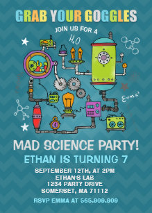 Science party invitations announcements zazzle au science birthday invitation mad science party filmwisefo