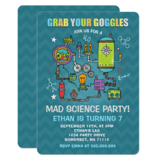 Science Birthday Invitation Mad Science Party