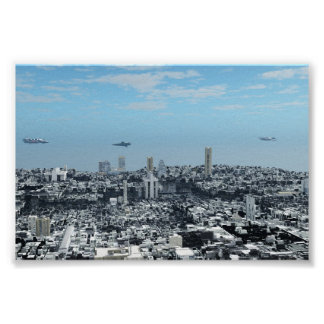 Science Fiction Cityscape Poster