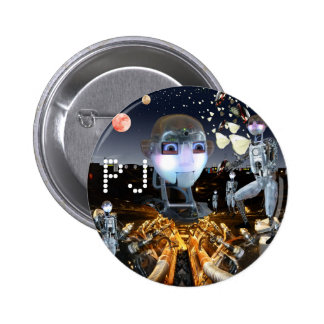 Science fiction futuristic robot planetary scene 6 cm round badge