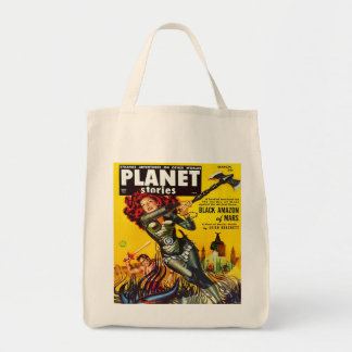 SCIENCE FICTION (VINTAGE MAGAZINE COVER) GROCERY TOTE BAG