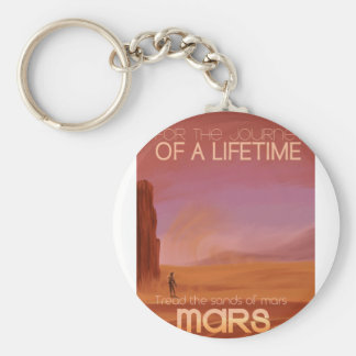 Science Fiction Vintage Mars Vacation Illustration Basic Round Button Key Ring