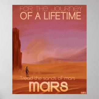 Science Fiction Vintage Mars Vacation Illustration Poster
