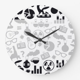 Science for Scientist Pattern (Black and White) Large Clock