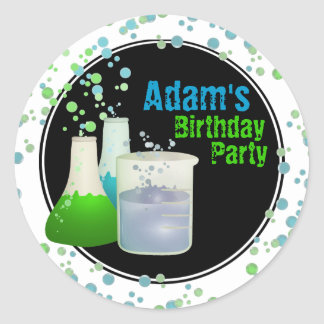 Science Lab Birthday Classic Round Sticker