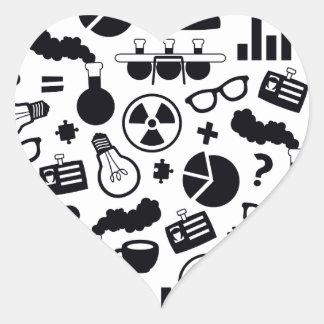 Science Pattern black on white Heart Sticker