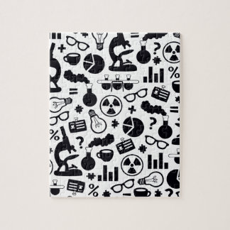 Science Pattern black on white Jigsaw Puzzle