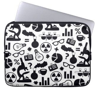 Science Pattern black on white Laptop Sleeve