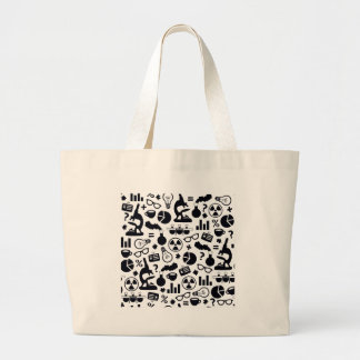 Science Pattern black on white Large Tote Bag