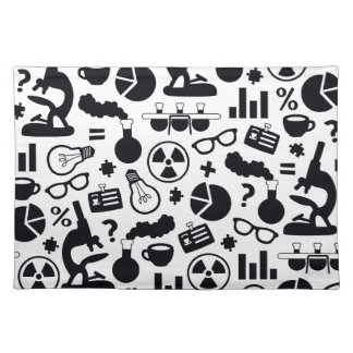 Science Pattern black on white Placemat