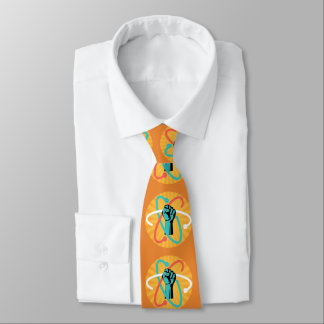 Science Power Fist & Retro Atom on Sunburst Tie